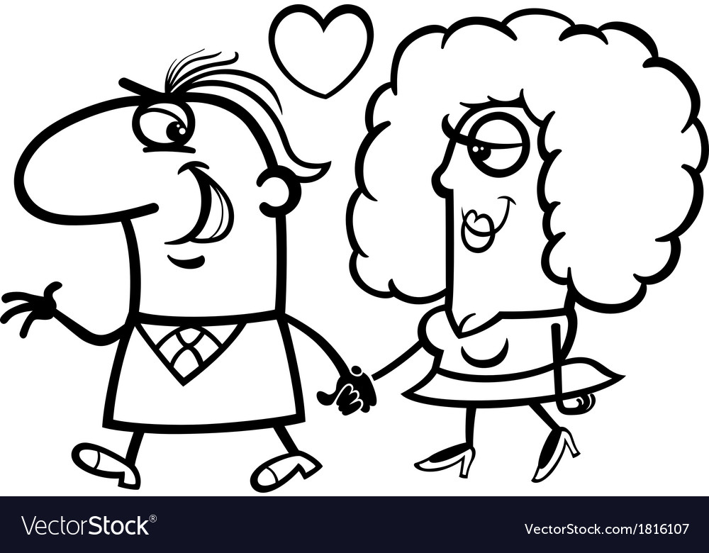 Couple in love cartoon coloring page Royalty Free Vector