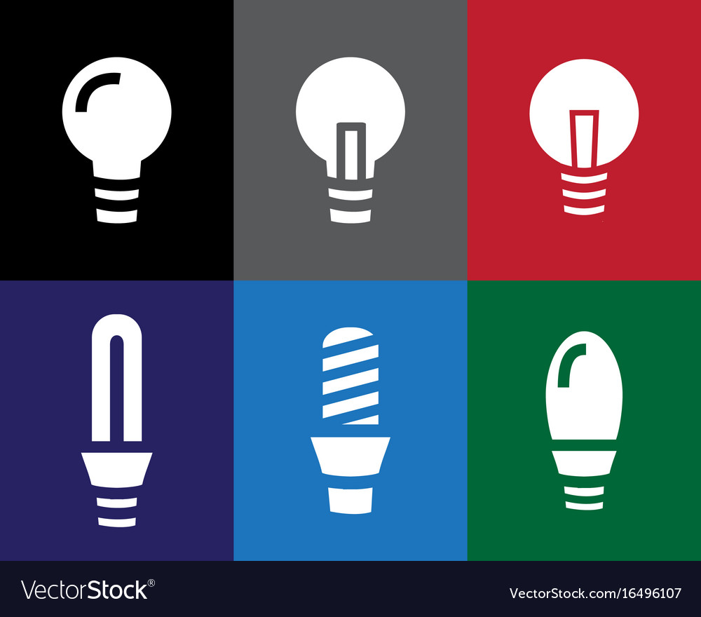 Set of light bulb icon in stencil style vector image