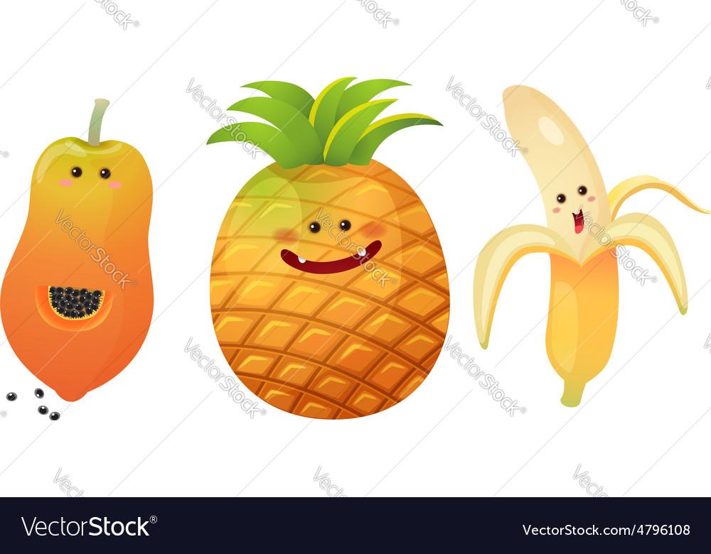 Cute fruits peeled banana pine apple papaya vector image