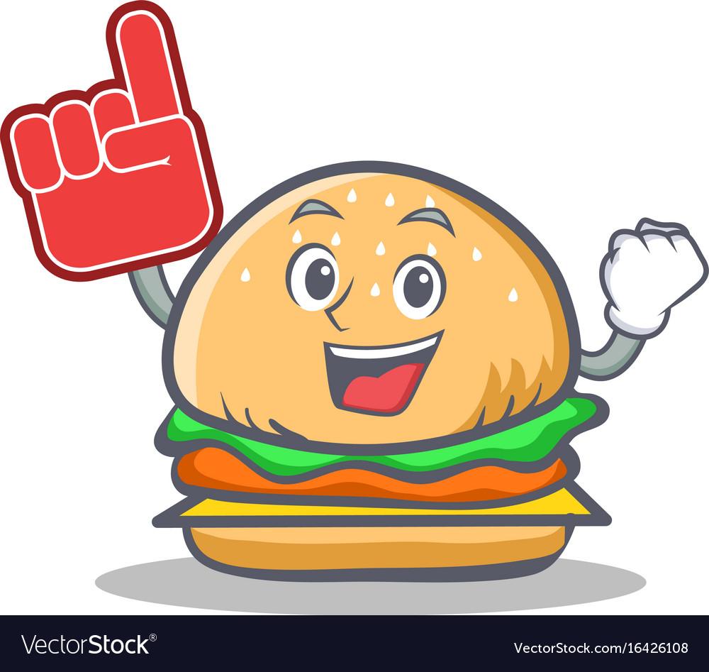 Foam finger burger character fast food vector image