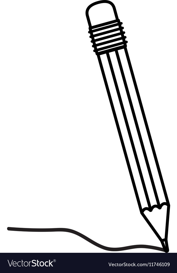 eraser clipart black and white. black silhouette pencil with eraser and writing vector image clipart white