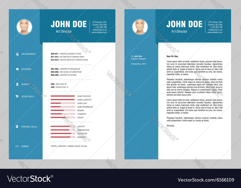 cv and cover letter royalty free vector image - vectorstock
