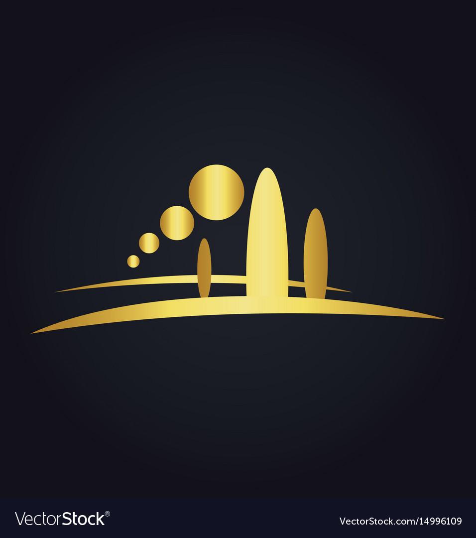 Pine tree mountain nature gold logo vector image