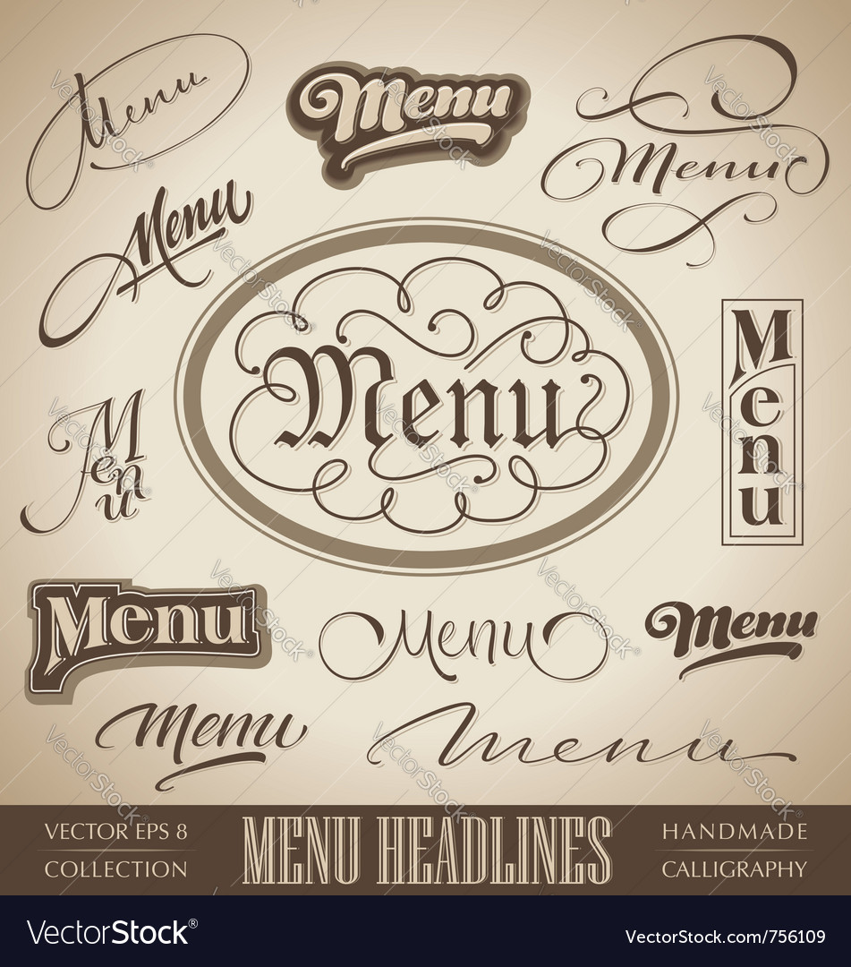 Vintage menu headlines vector image