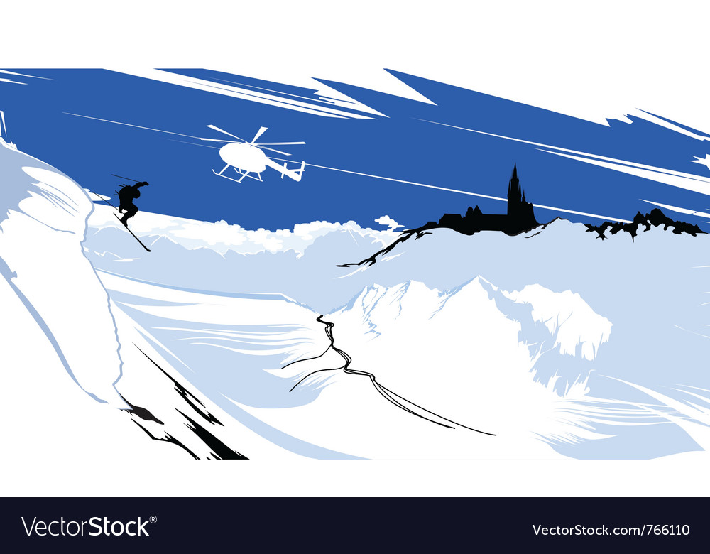 Skier goes down from snowy mountain vector image