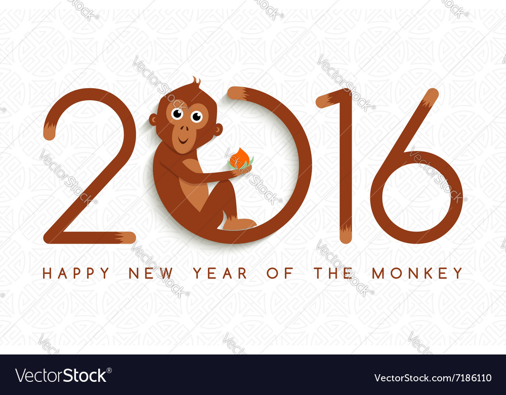 chinese new year monkey 2016 cute card vector image - Chinese New Year Of The Monkey