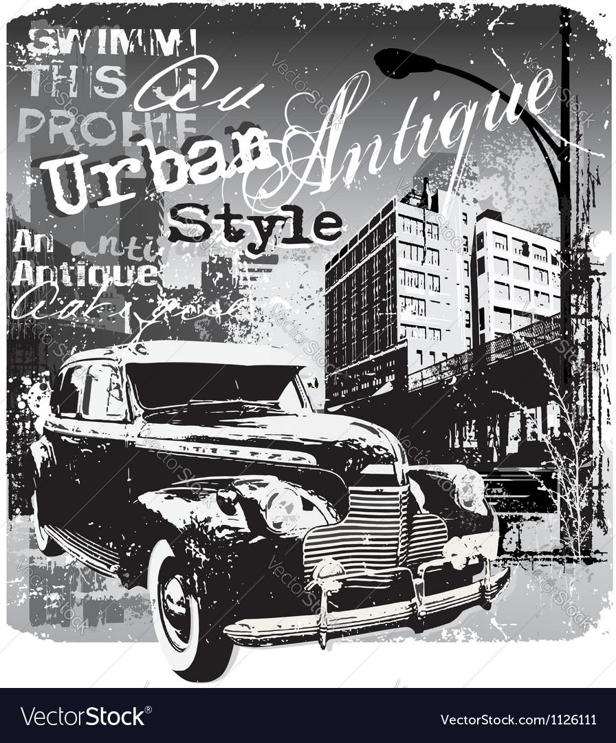 Antique car urban style vector image