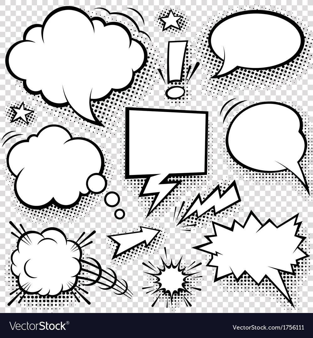 Comic Speech Bubbles and Elements Set vector image