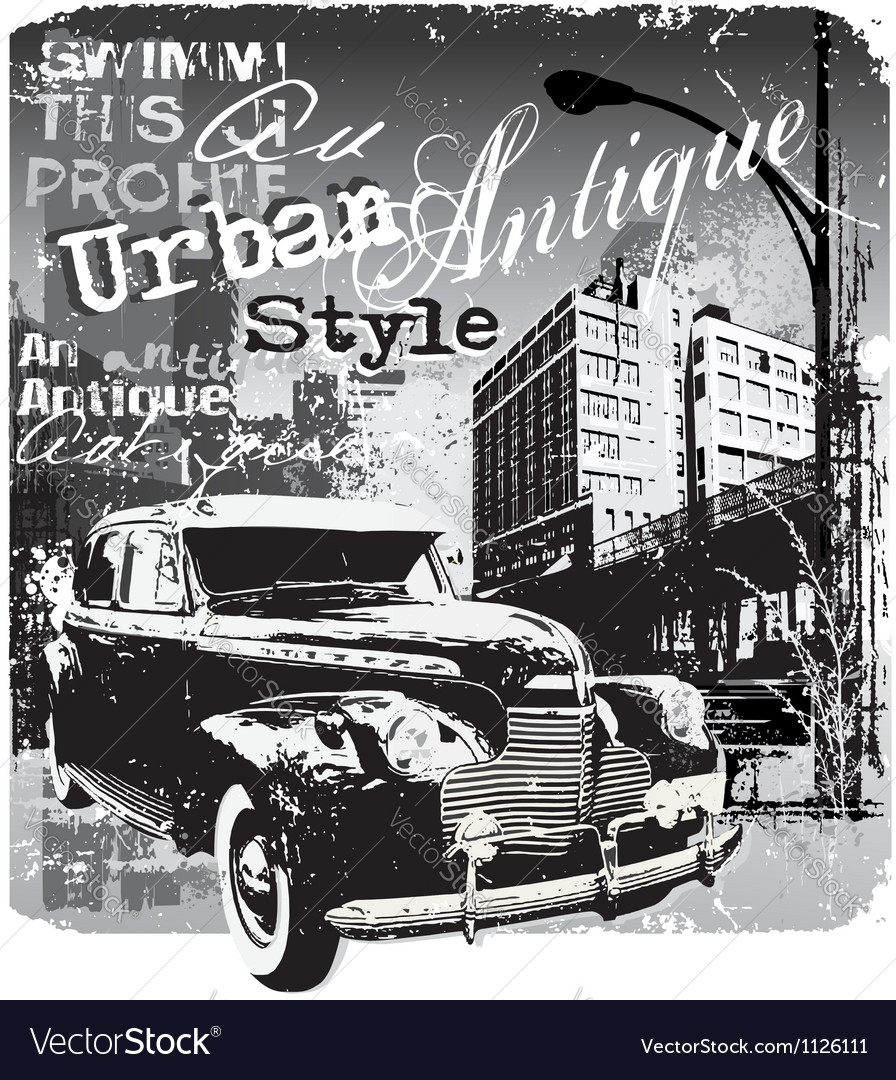 Antique car urban style vector image