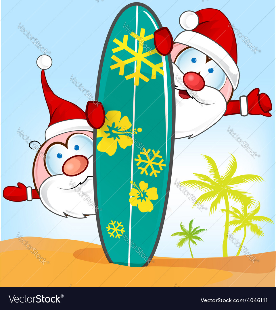 Santa claus cartoon with surfboard vector image