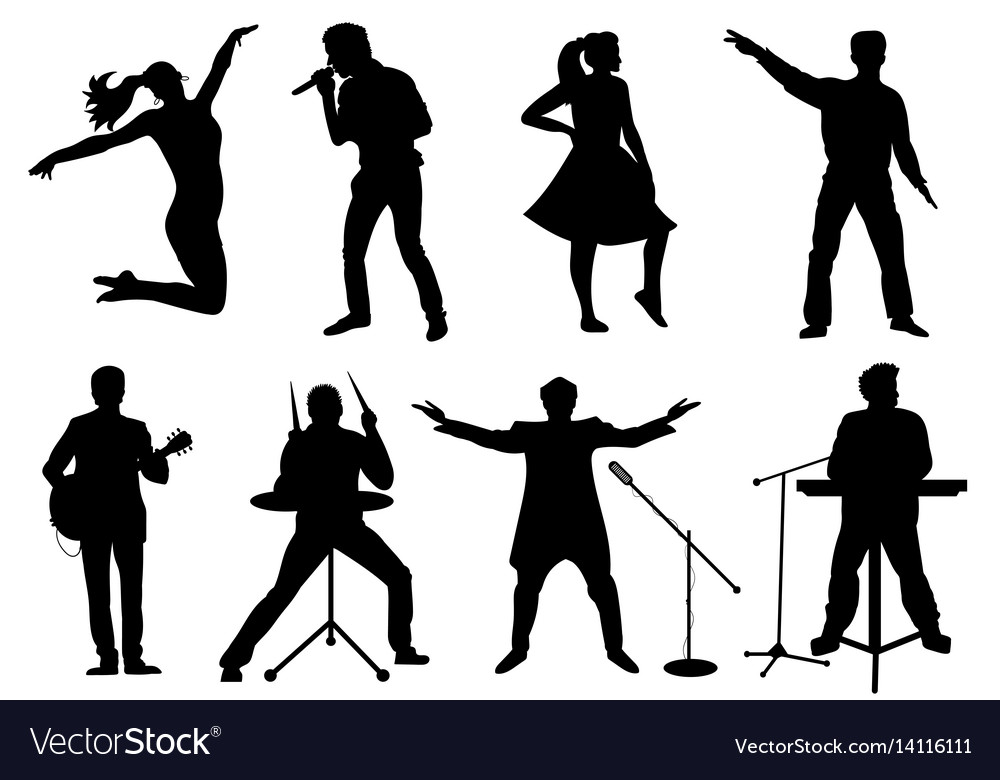 Set of silhouettes of musicians singers and vector image