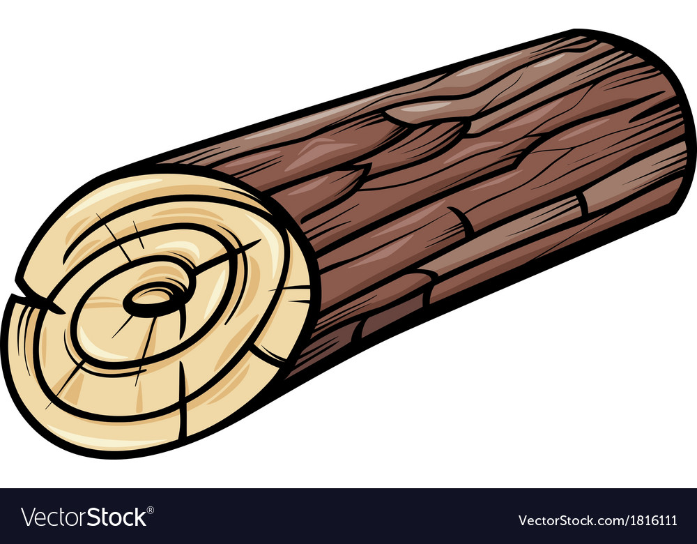 Wooden log or stump cartoon clip art vector image