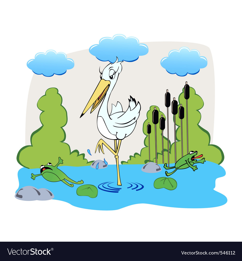 Cute drawing of a stork and frogs running away fro Vector Image