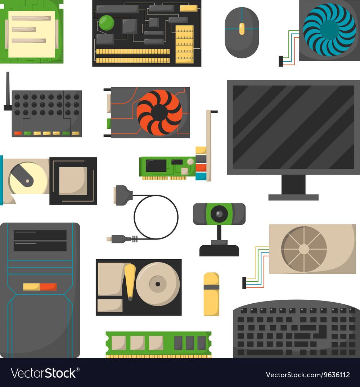 Computer details vector image