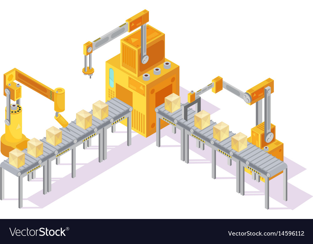 Conveyor system isometric vector image