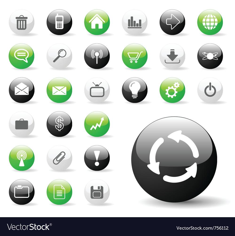 Glossy web icon set vector image