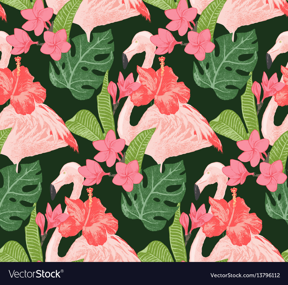 Seamless pattern with flamingoes and flowers vector image
