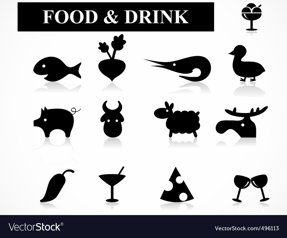 Food drink icons vector image