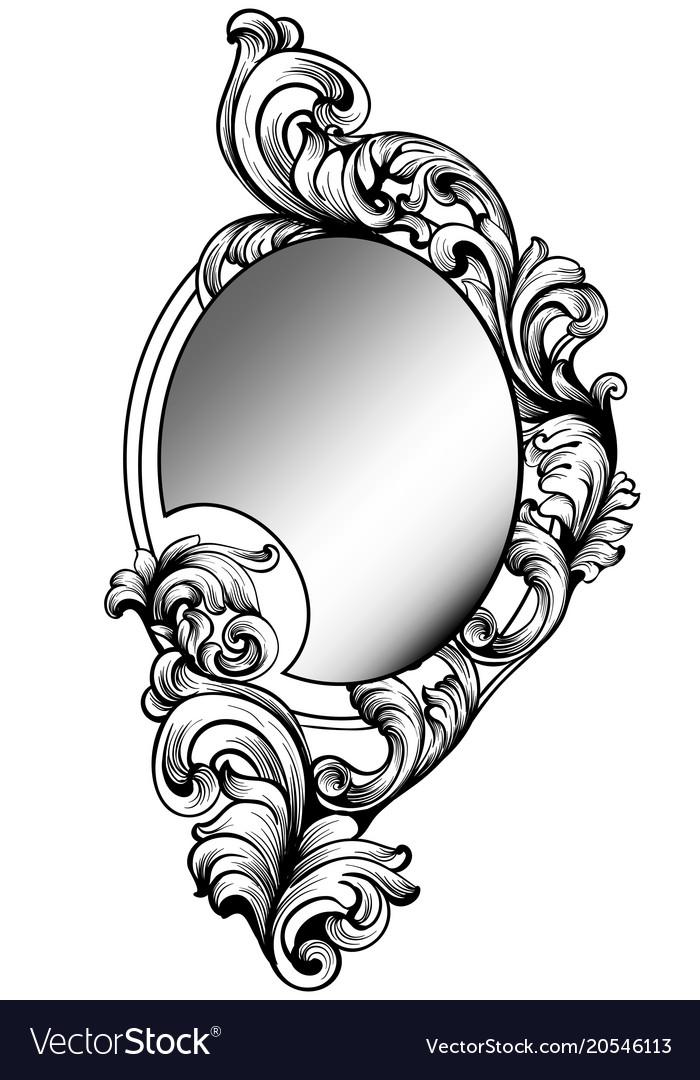 Baroque round mirror frame imperial decor Vector Image