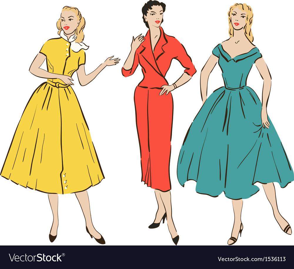 Pin up girls vector image