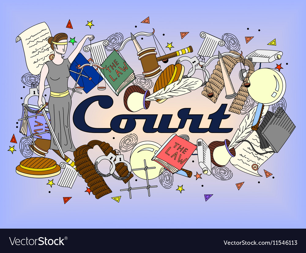 Set law and justice vector image
