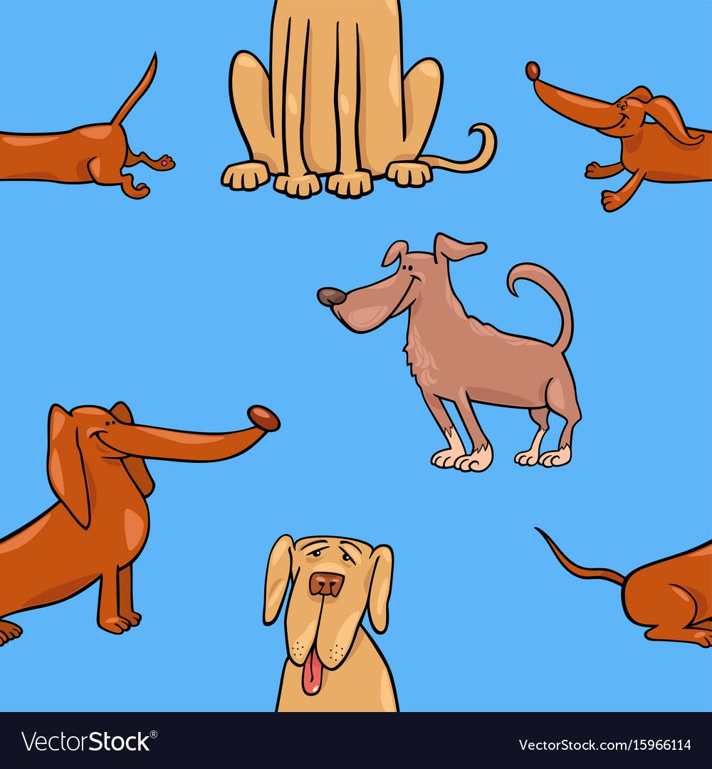 Cartoon wallpaper with dogs vector image