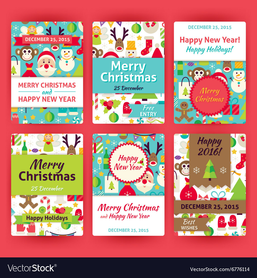Merry christmas template invitation set in modern vector image stopboris Images