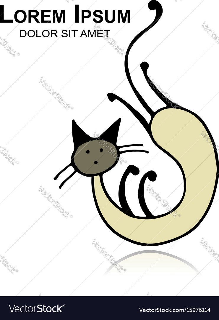 Siamese cat sketch for your design vector image