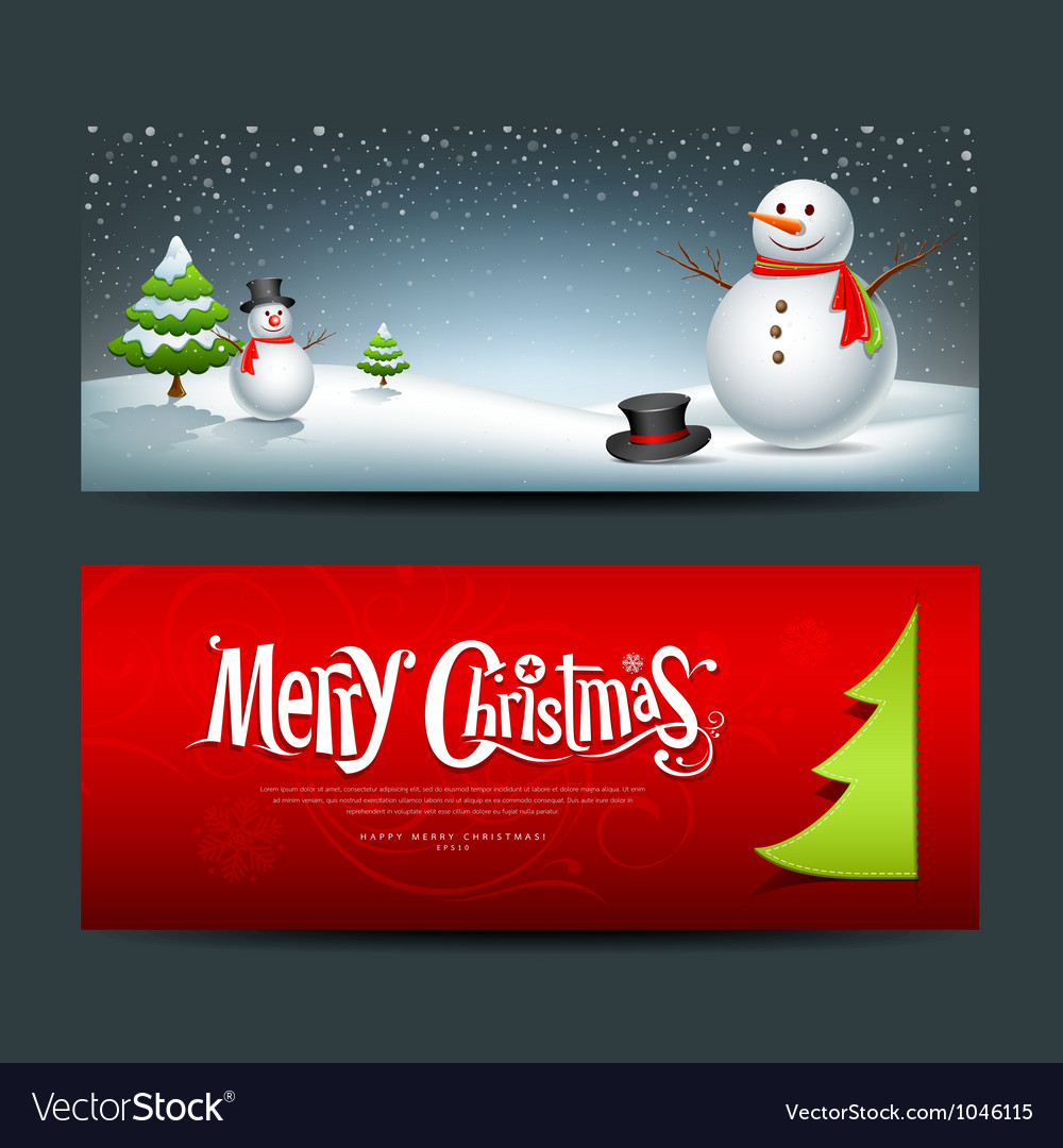 Merry Christmas banner design background set vector image
