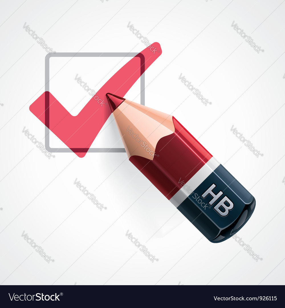 Pencil and tick mark icon vector image