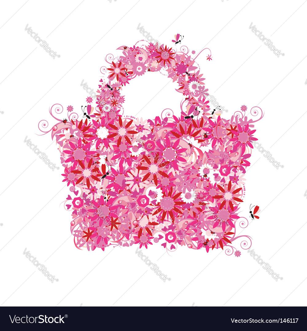 Floral shopping bag vector image