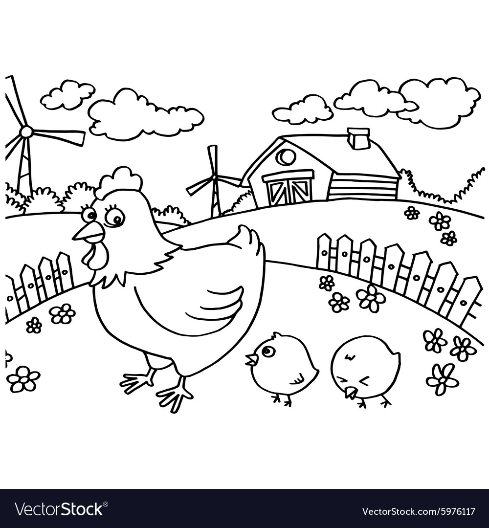Chicken Coloring Pages Royalty Free Vector Image