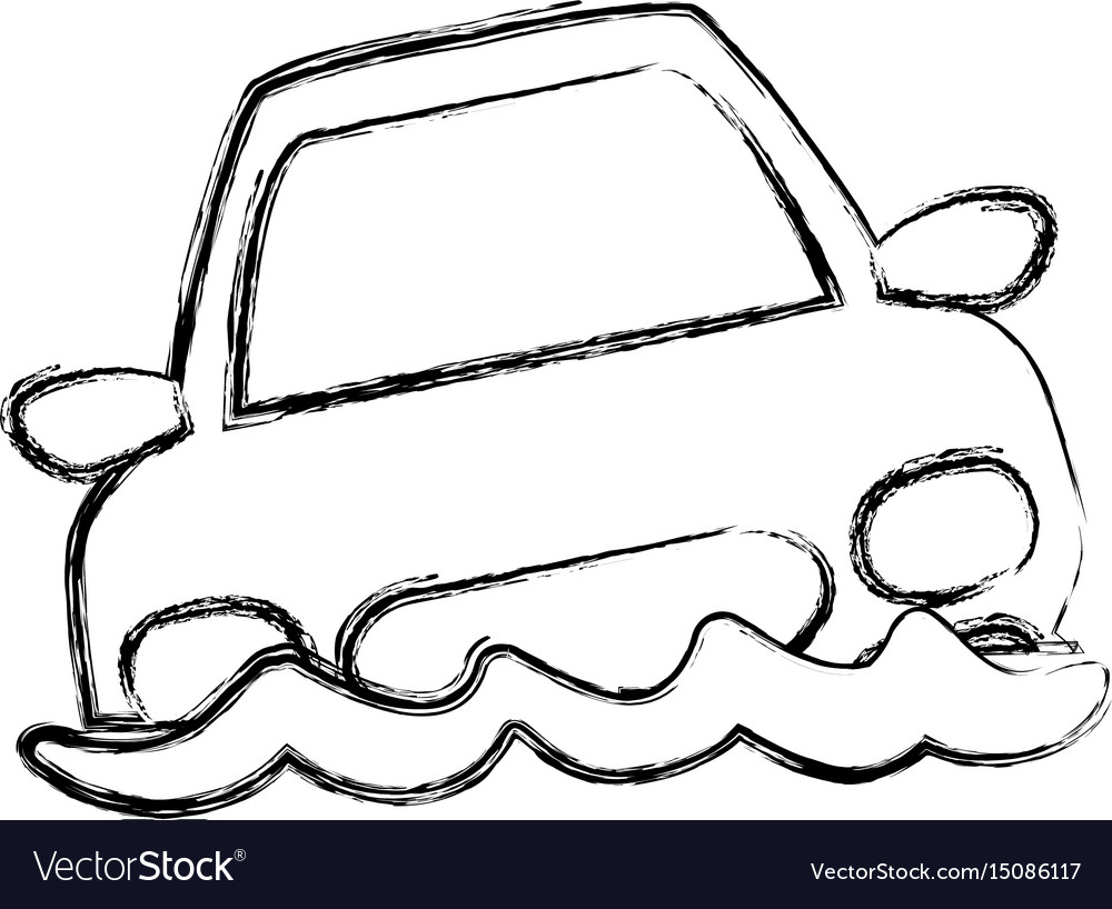 Figure flooded car for danger weather vector image