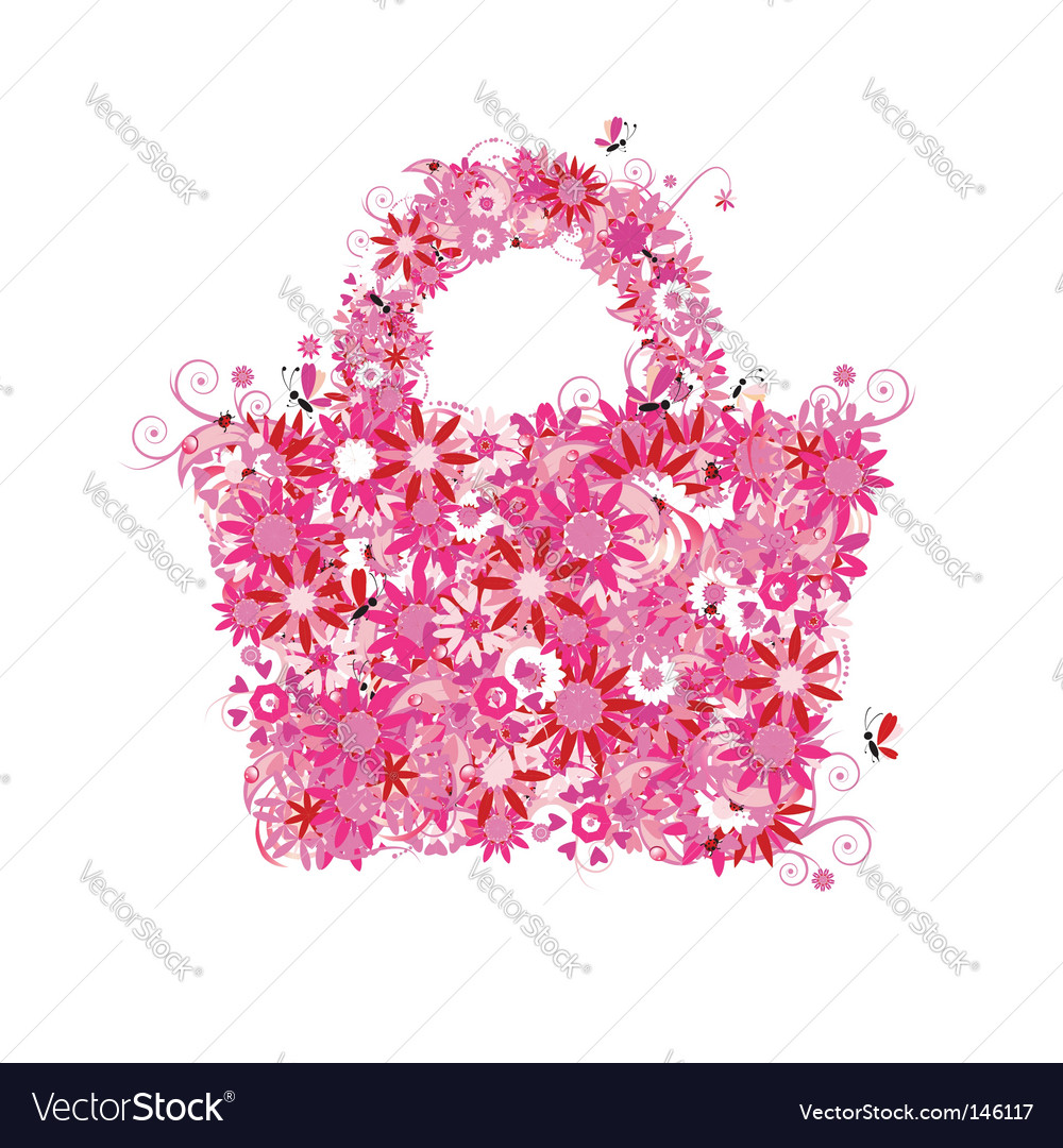 Floral shopping bag vector image