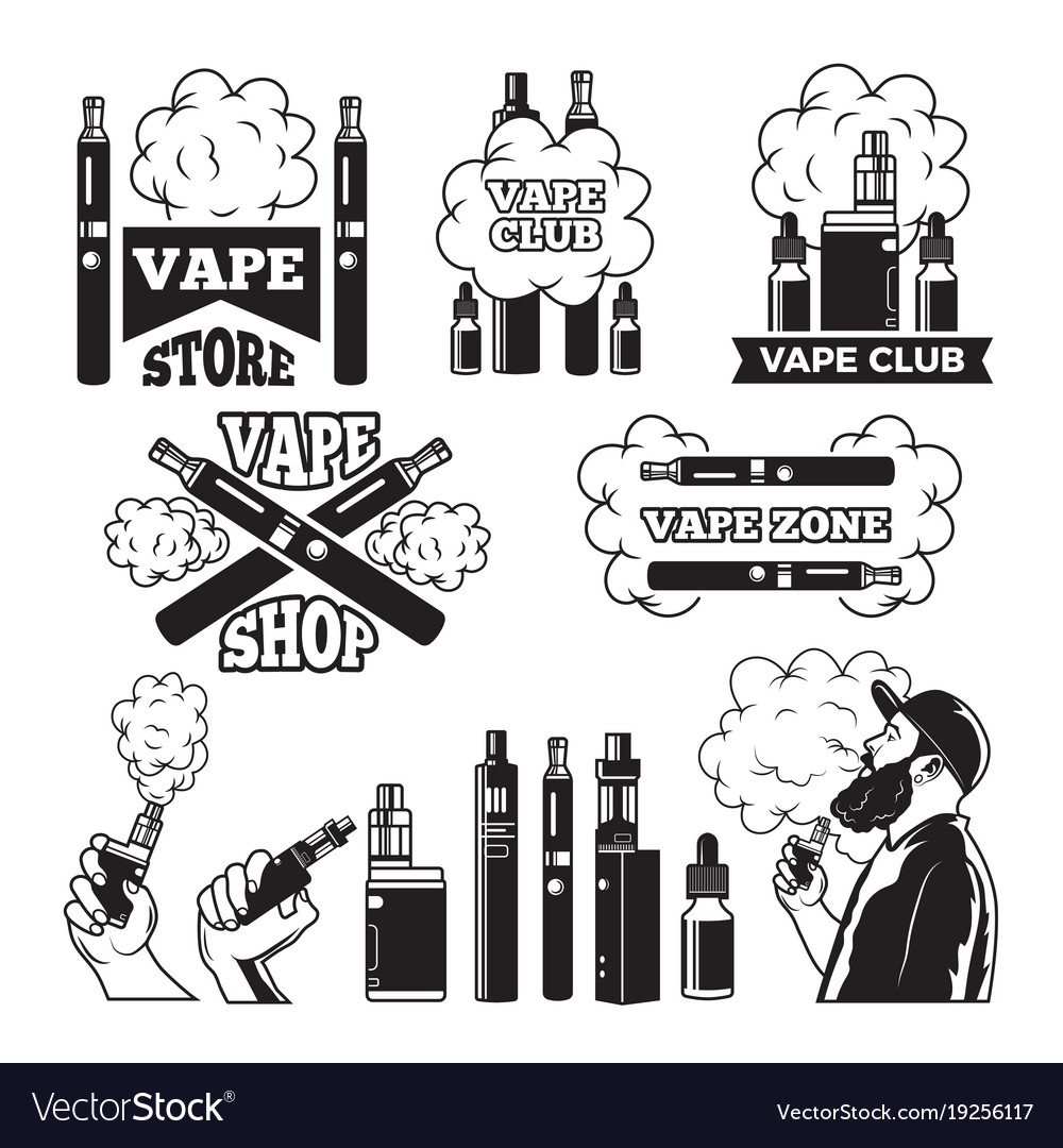 Monochrome labels set for vaping and smoking club vector image