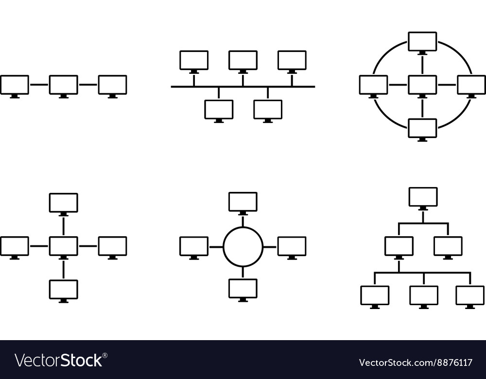 Network topology black and white vector image