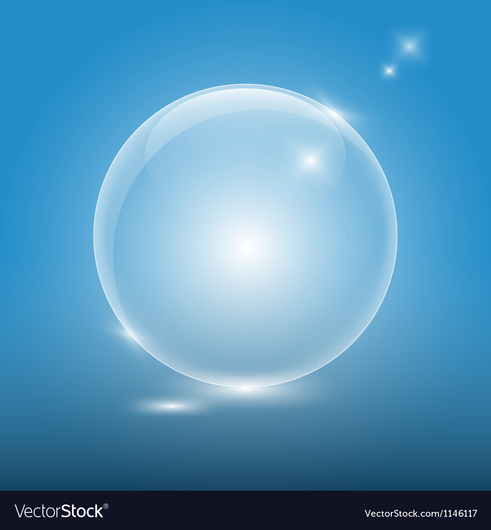 Transparent glass ball on blue backgroundeps10 vector image