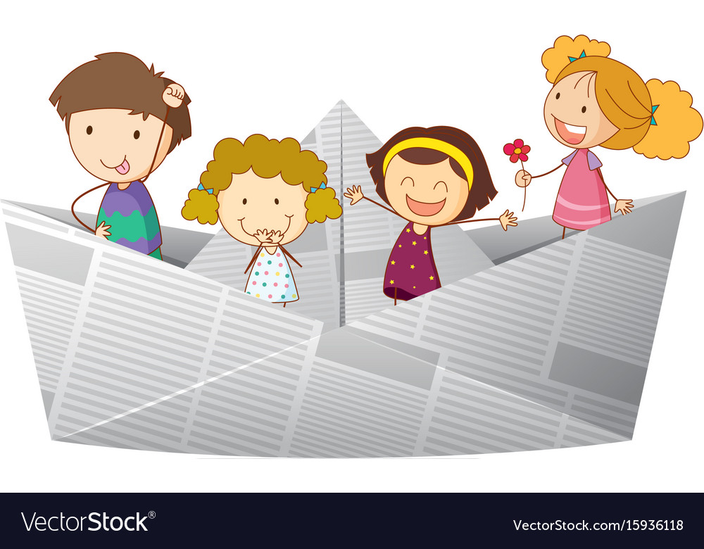 Happy kids riding on paper boat vector image