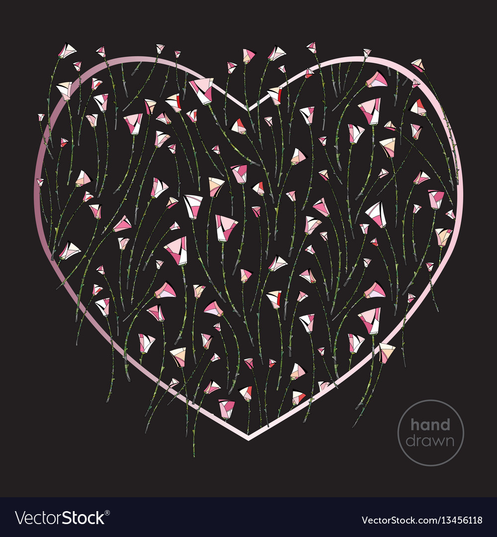 Heart and roses stylized background vector image