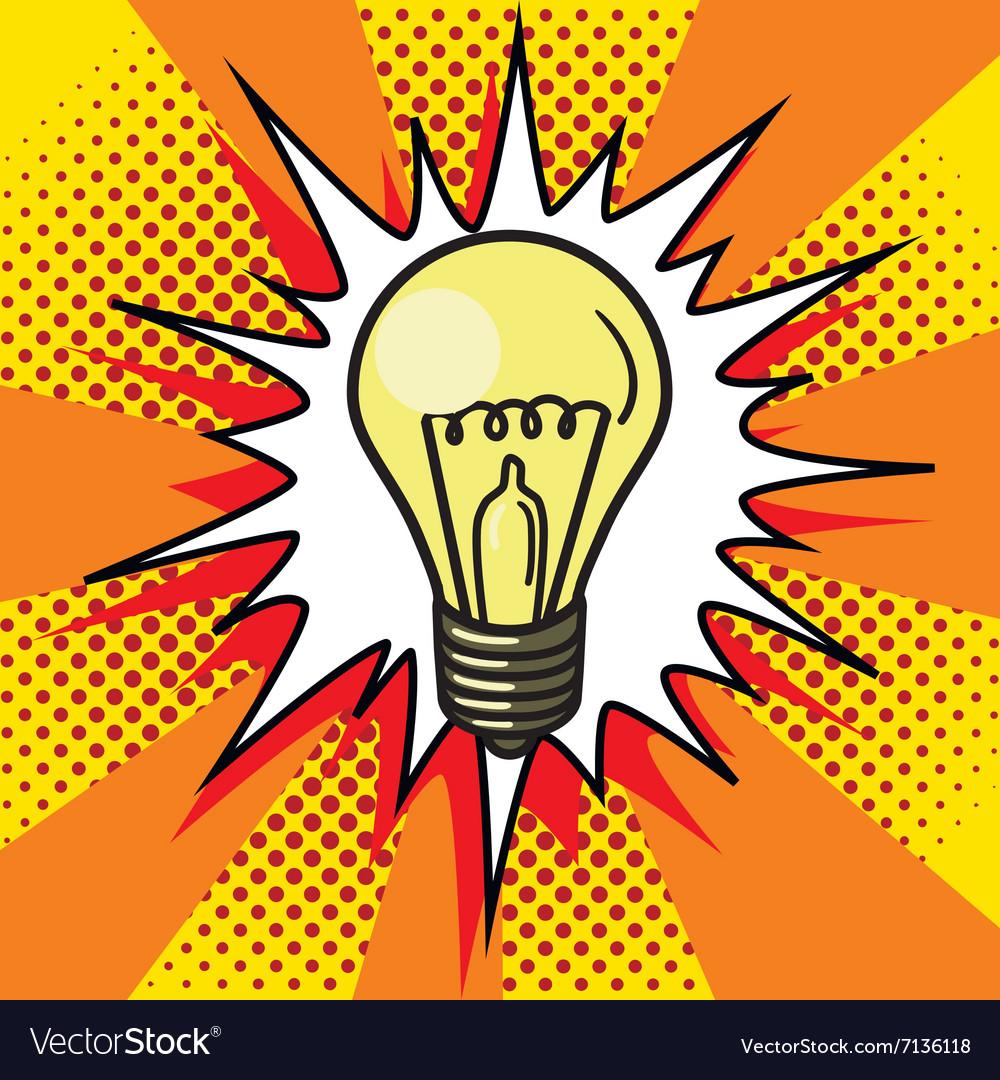 Light bulb lamp pop art style Royalty Free Vector Image