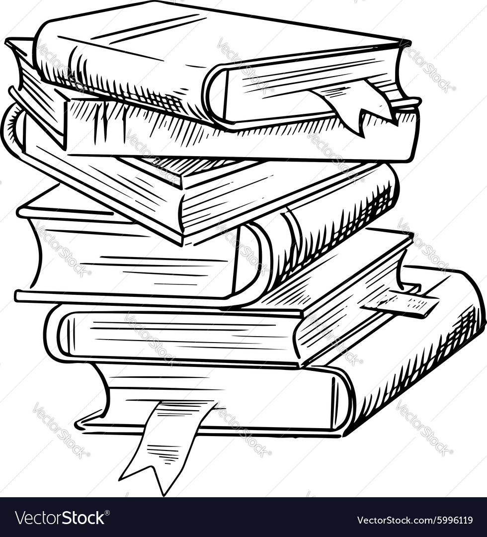 Stack Of Books With Bookmarks Royalty Free Vector Image