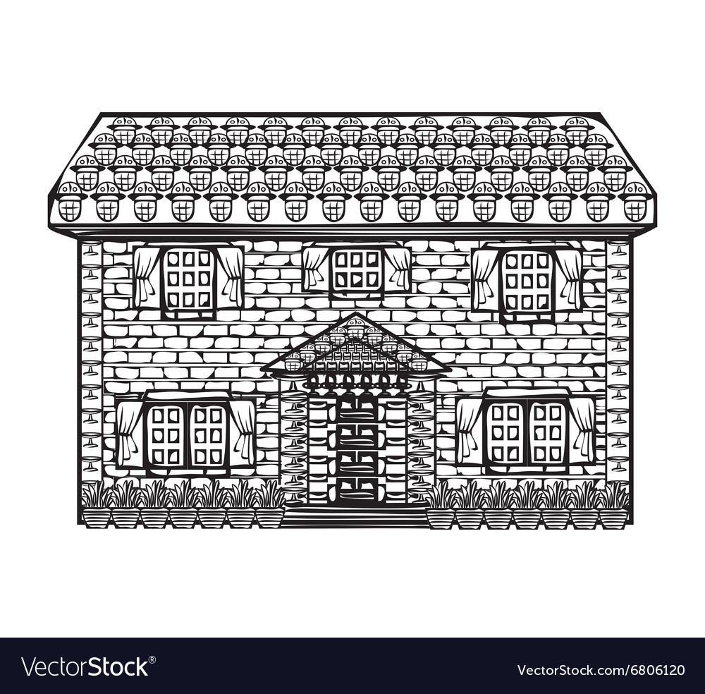 drawing houses sketch royalty free vector image