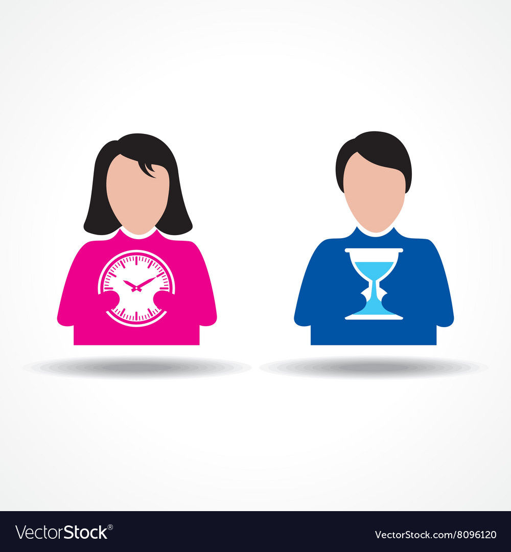Male and Female icon having clock stock vector image