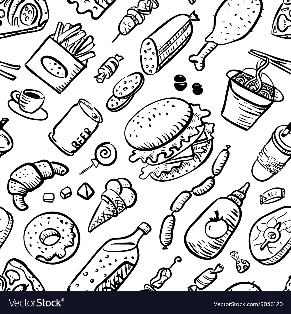 Seamless pattern with fast food products vector image