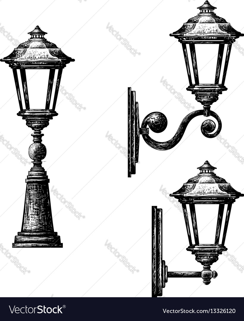 Sketch of street light vector image