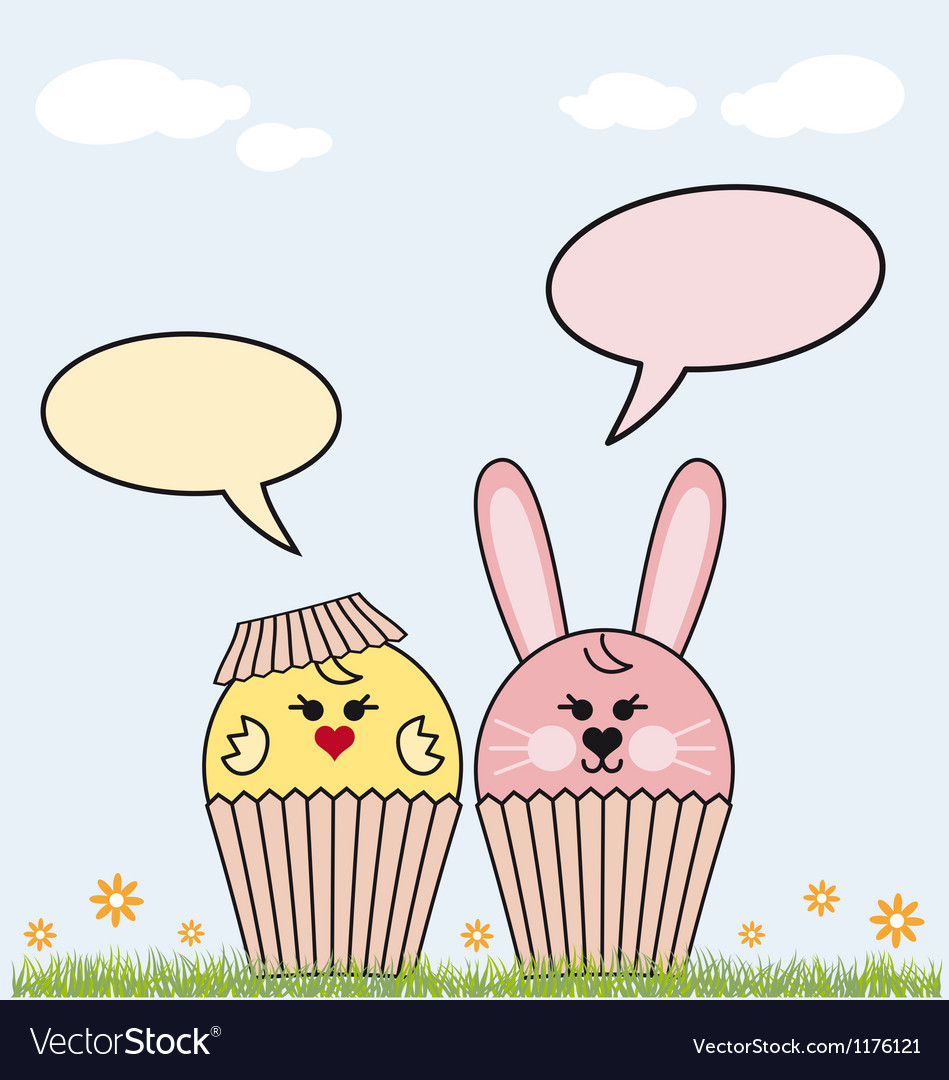 Cupcake easter bunny and chicken vector image