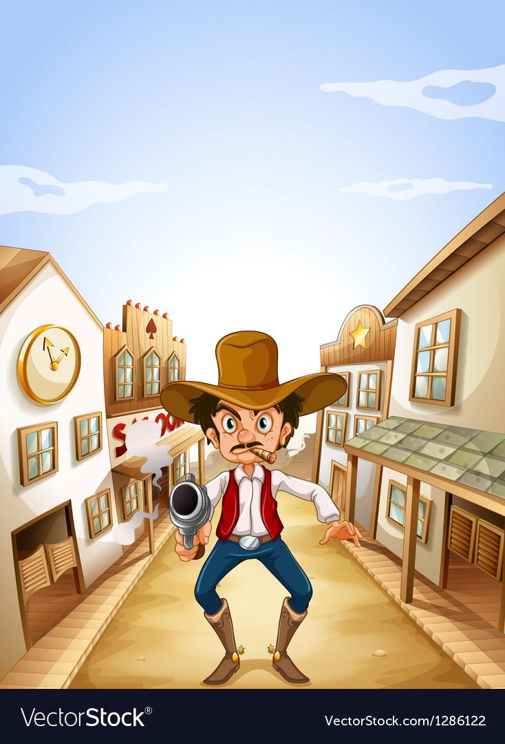 A gunman at the village vector image