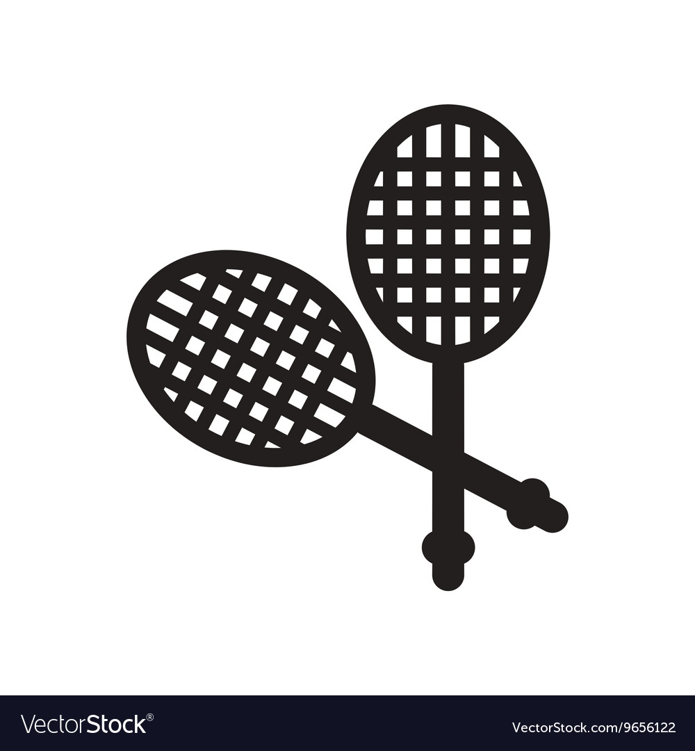 Flat icon in black and white style tennis rocket