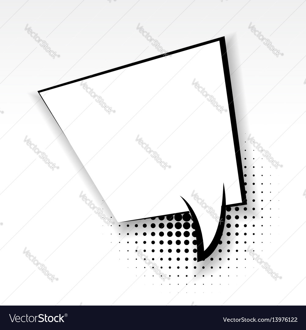 Square comic empty paper babble soft shadow vector image