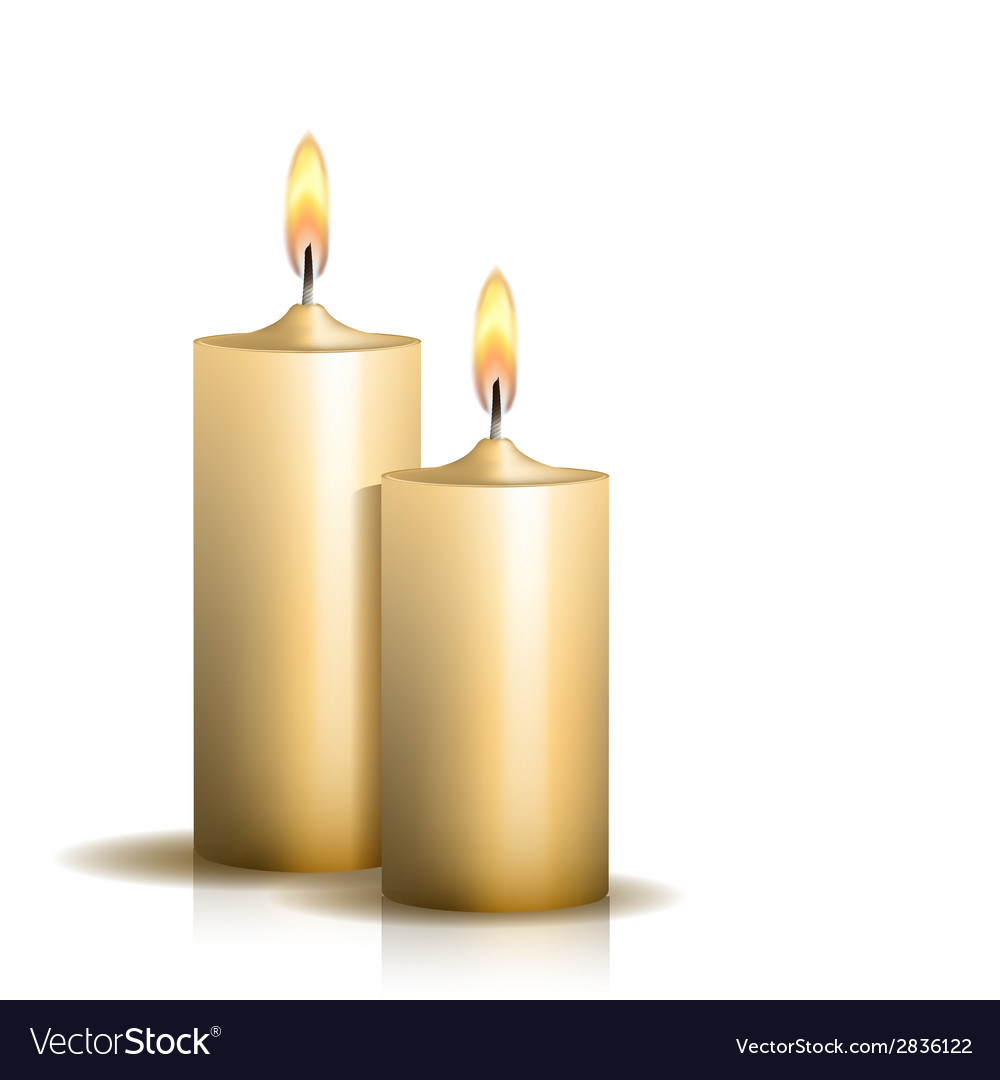 Two burning candles on white background vector image